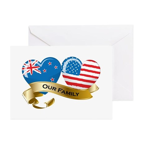 New Zealand/USA Flag_Our Family Greeting Cards (Pk