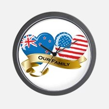 New Zealand/USA Flag_Our Family Wall Clock