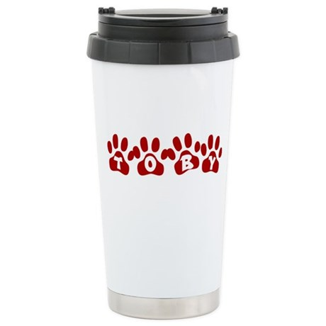 Toby Paw Prints Stainless Steel Travel Mug