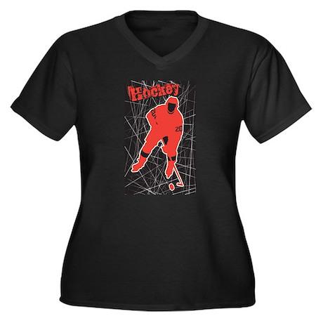 Hockey Women's Plus Size V-Neck Dark T-Shirt