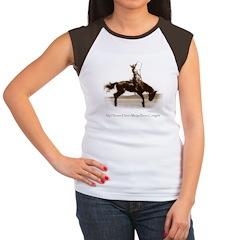Cowgirl Hero antiqued image Women's Cap Sleeve T-S