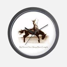Cowgirl Hero antiqued image Wall Clock