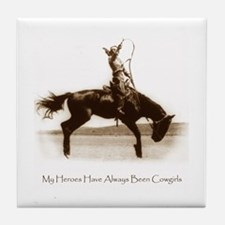 Cowgirl Hero antiqued image Tile Coaster