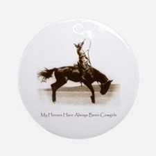 Cowgirl Hero antiqued image Ornament (Round)