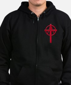 Anarchist Crucifix Zip Hoodie (dark)