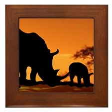 Rhino Family Framed Tile