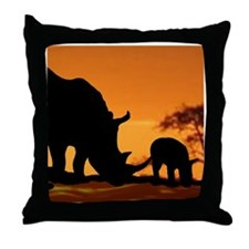 Rhino Family Throw Pillow