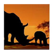 Rhino Family Tile Coaster