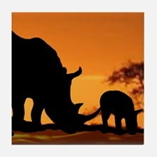 Rhino Family Tile Coaster