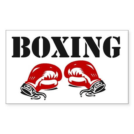 """Boxing Gloves w/ """"Boxing"""" Rectangle Sticker"""