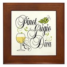 Pinot Grigio Diva Framed Tile