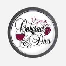 Cabernet Wine Diva Wall Clock