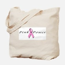 Tote Bag breast cancer ribbon pink power
