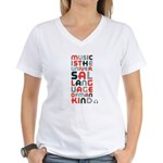 music is univeral language Women's V-Neck T-Shirt