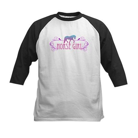 Horse Girl Kids Baseball Jersey