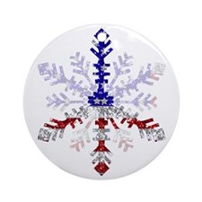 Peace Sign Snowflake Ornament (Round)