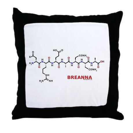 Breanna name molecule Throw Pillow