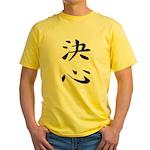 Determination - Kanji Symbol Yellow T-Shirt