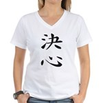Determination - Kanji Symbol Women's V-Neck T-Shir