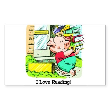 I love Reading, Pig Rectangle Sticker