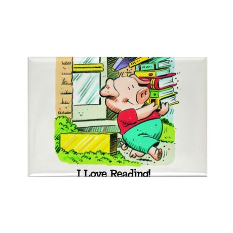 I love Reading, Pig Rectangle Magnet (10 pack)