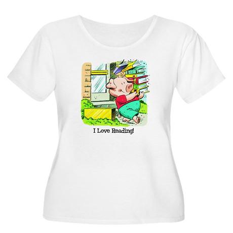 I love Reading, Pig Women's Plus Size Scoop Neck T