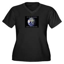 Man Created God Women's Plus Size V-Neck Dark T-Sh
