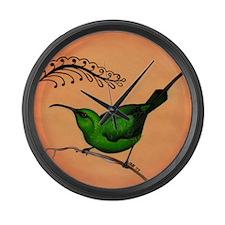 Malachite Bird Large Wall Clock
