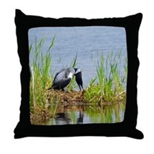 Common Loon on nest Throw Pillow