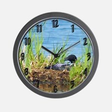 Common Loon on nest Wall Clock