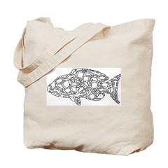 Fish Collage (white) by Morgan Smith Tote Bag