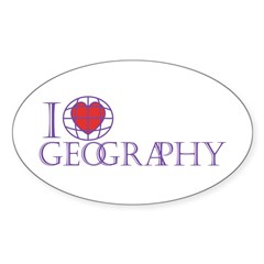 I Love Geography Oval Sticker (10 pk)