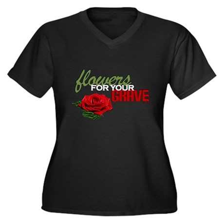 """""""Flowers For Your Grave"""" Women's Plus Size V-Neck"""