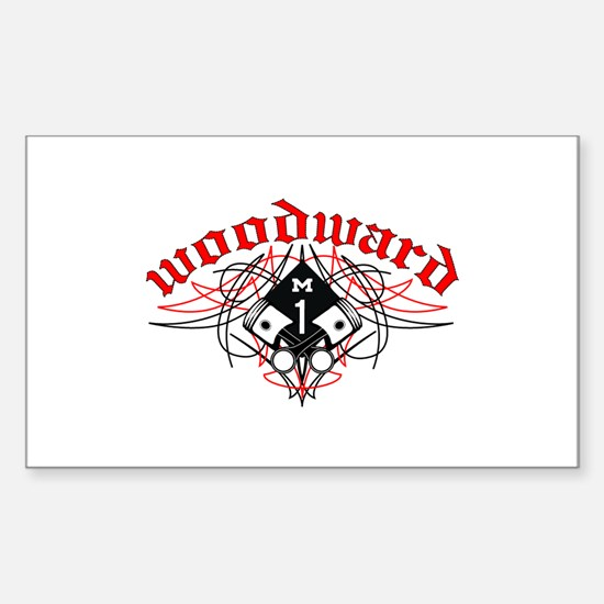 Woodward Pistons Pinstripe Rectangle Decal