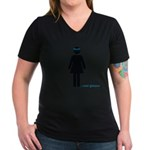 girl in glasses Women's V-Neck Dark T-Shirt