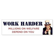 Work Harder Bumper Car Sticker