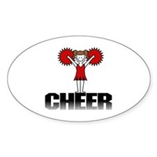 Red Cheerleading Oval Decal