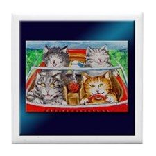 Four Cats Cruzin' in a Convertible Tile Coaster