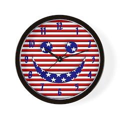 Patriotic Happy Face Wall Clock