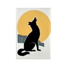 Howling Wolf Rectangle Magnet