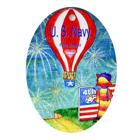 Navy Fleet Support RI Oval Ornament