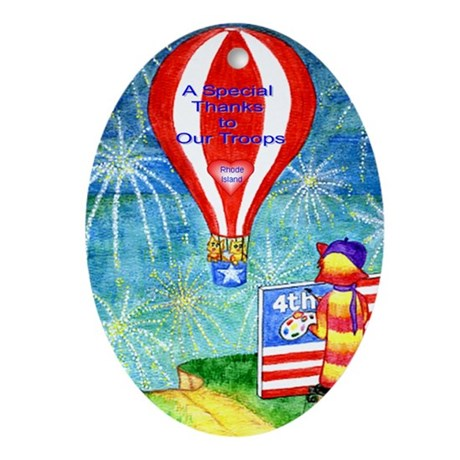 Thanks to Our Troops Ornament RI (Oval)