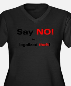 No Legalized Theft Women's Plus Size V-Neck Dark T