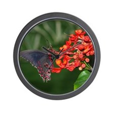 Black and Red Butterfly Wall Clock