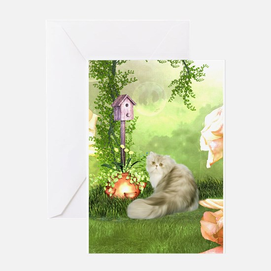 Cute cat in a fantasy garden Greeting Cards