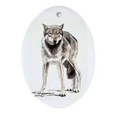 Wolf in Watercolor Oval Ornament