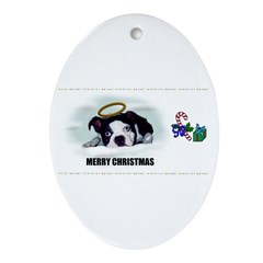 MERRY CHRISTMAS BOSTON TERRIER ANGEL Ornament (Ova
