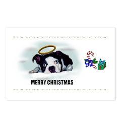 MERRY CHRISTMAS BOSTON TERRIER ANGEL Postcards (Pa