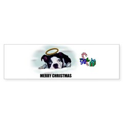 MERRY CHRISTMAS BOSTON TERRIER ANGEL Bumper Sticker