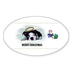MERRY CHRISTMAS BOSTON TERRIER ANGEL Decal